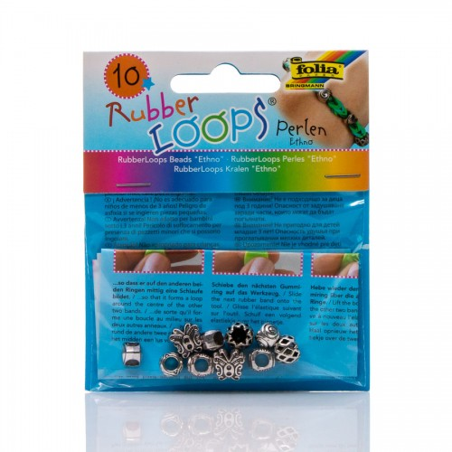 Rubber Loops - Beads Ethno,10 Pieces Assorted