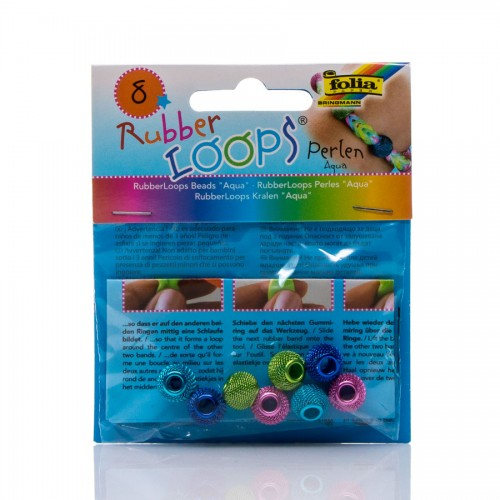 Rubber Loops - Beads Aqua,8 Pieces, 4 Colours Asso