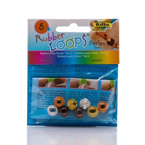 Rubber Loops - Beads Terra,8 Pieces, 4 Colours Ass
