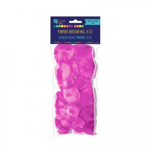 Acrylic  Pom Poms,24Pcs,Pink