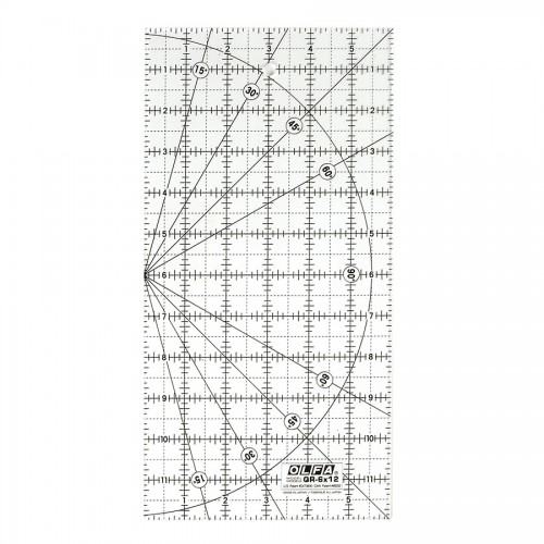 """Olfa® 6""""X12"""" Square Frosted Acrylic Ruler (Qr-6X12"""