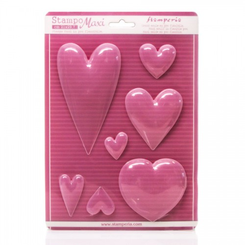 Soft Pvc Mould - Hearts A4 Size