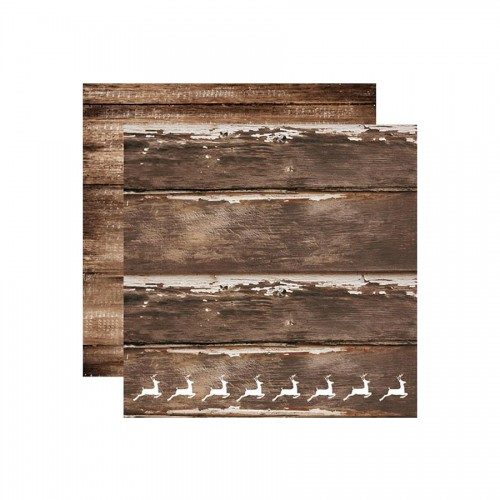 Double Face Printed Paper Cm 31,5X30,5 -  Natural Wood Texture With Reindeer