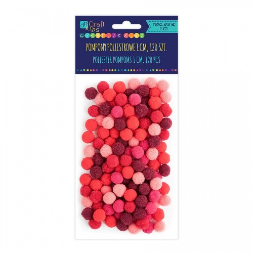 Acrylic  Pom Poms,120Pcs,Mix Red