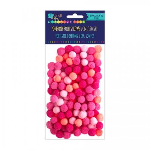 Acrylic  Pom Poms,120Pcs,Mix Pink