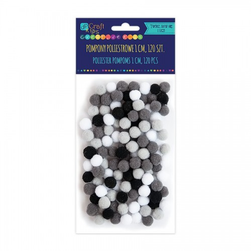 Acrylic  Pom Poms,120Pcs,Mix  Black-White