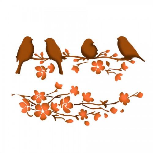 Stencil G Cm. 21X29,7 Birds On Tree