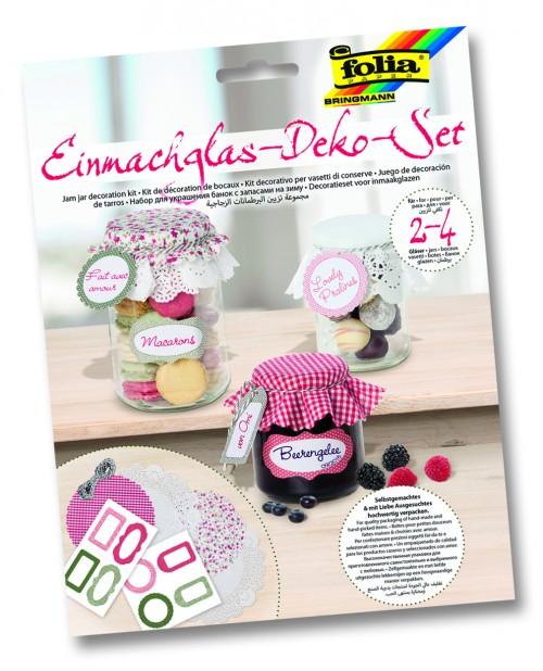 Jam jar decoration kit.red/green