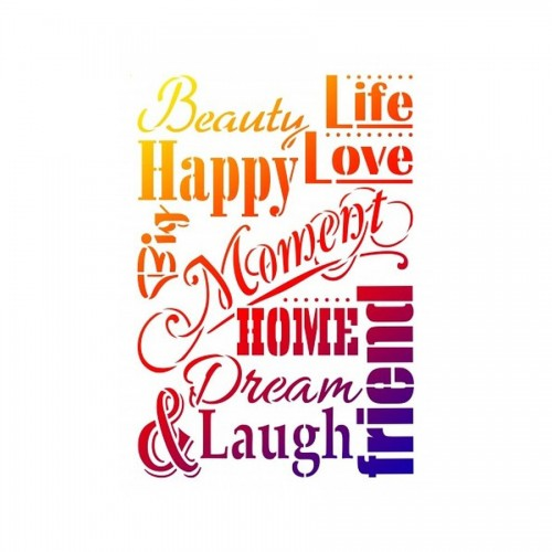 Stencils A3 Life, Love & Laugh