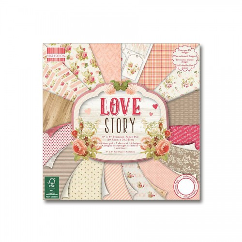 Paper and Cardstock pads 20x20cm, Love Story
