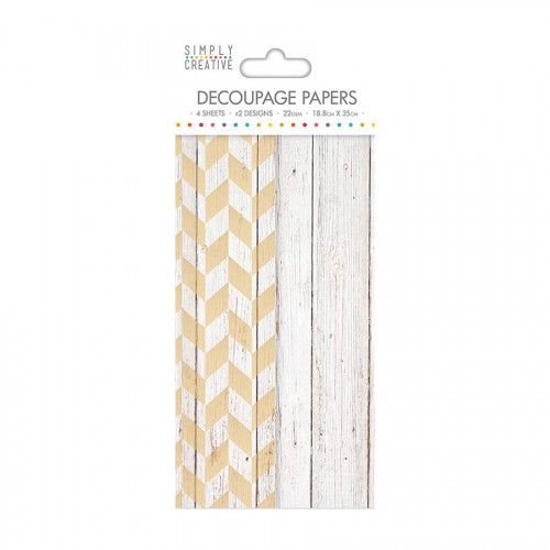 Simply Creative Decoupage Paper  White Wood