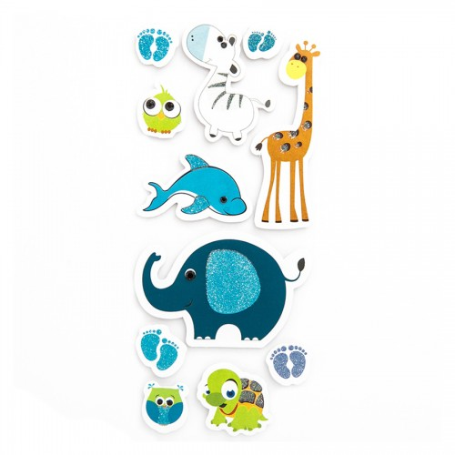 3D Glitter Stickers - Zoo Animals, 11 Pcs - Blue
