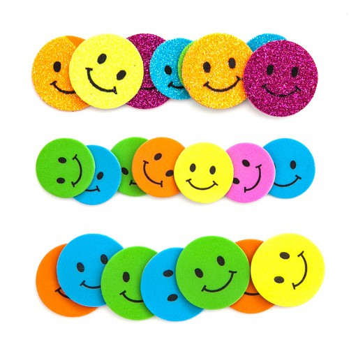 Glitter Foam Stickers - Smilies, 30 Pcs