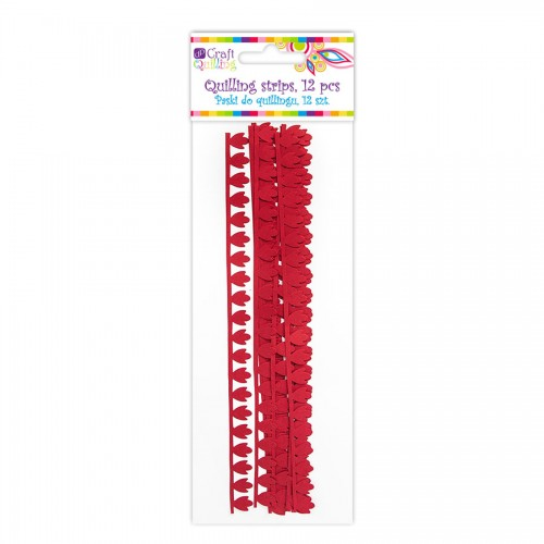 Peony Petal Quilling Strips - Red, 12 Pcs