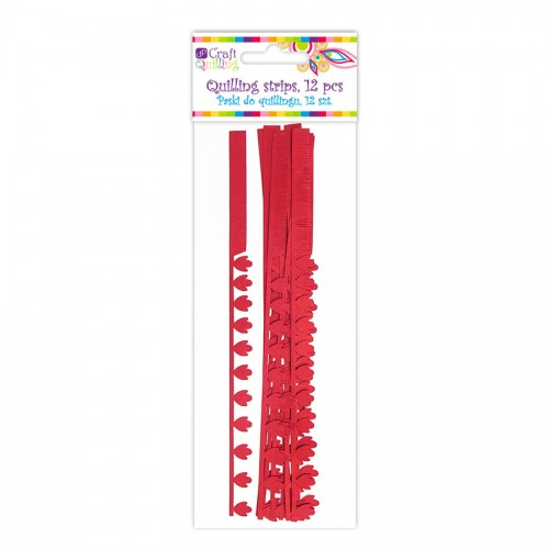 Peony&Fringe Petal Quilling Strips - Red, 12 Pcs