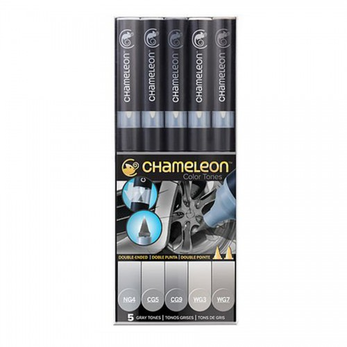 Chameleon, 5 Pen Set Grey Tones