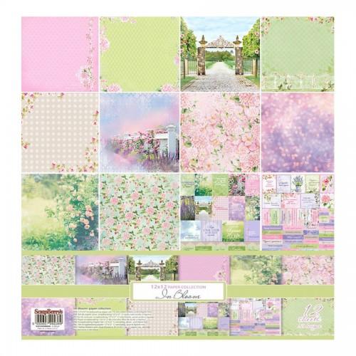 """Scrapbooking paper set 12""""*12"""" In Bloom 190 gsm (1"""
