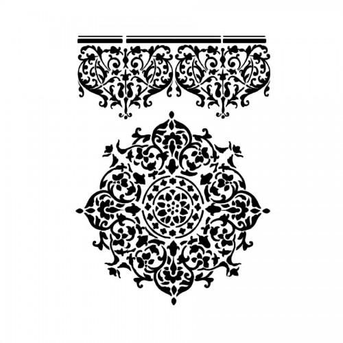 Stencil G Cm. 21X29,7 Lace Centre And Border