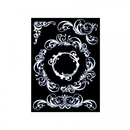 Thick Stencil Cm. 20X25/0.5 Mm Elegant Frame With