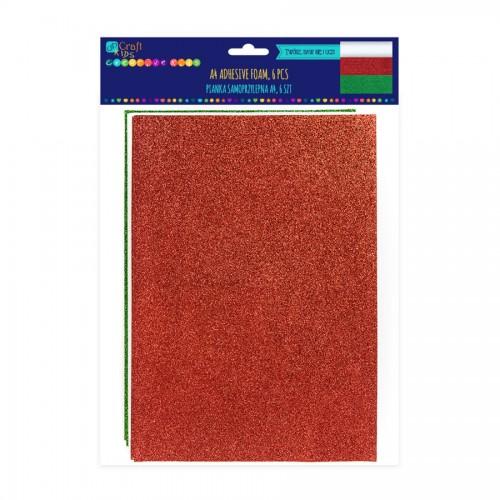 A4 Adhesive Xmas Glitter Foam, 6 Pcs