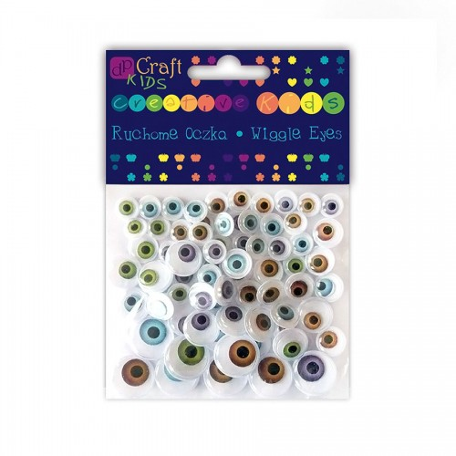Assorted Adhesive Natural Wiggle Eyes, 72 Pcs, Mix