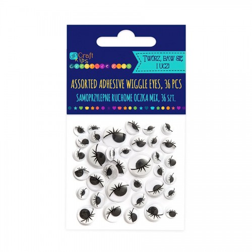 Assorted Adhesive Black Wiggle Eyes With Eyelashes