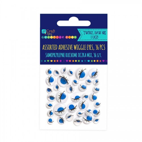 Assorted Adhesive Blue Wiggle Eyes With Eyelashes,