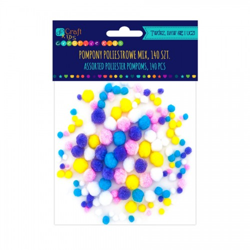 Pastel Assorted Poliester Pompoms, 140 Pcs