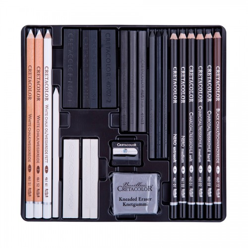 Black White Sketching Set 25Pcs(Wood), Cretacolor
