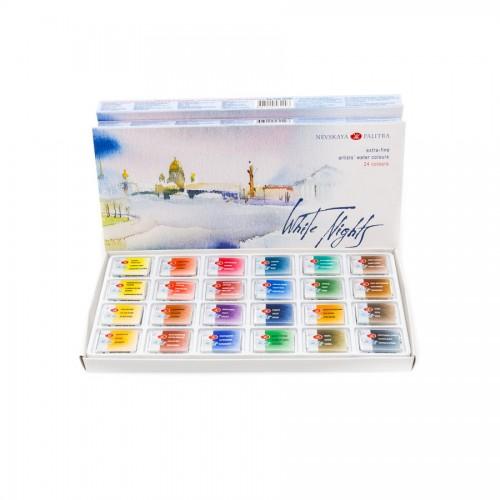 Watercolour set White Nights 24 pans cardboard box