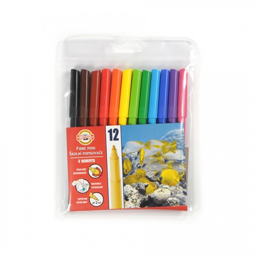 Set Of Fibre Pens 12Pcs washable
